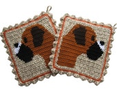 Boxer Dog Pot Holders. Crochet potholders featuring fawn boxers.