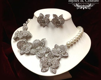 Bridal jewelry set, pearl jewelry, wedding jewelry set, Bridal necklace earrings, Austrian crystal jewelry, Ballroom jewelry,Pearl necklace