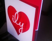 ILY Love Greeting Card, Anniversary Wedding Valentines Gift Red Lover Card
