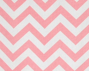 Baby Pink White Zig Zag Curtains - Rod Pocket - 63 72 84 90 96 108 or 120 Long by 24 or 50 Wide