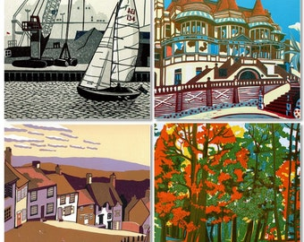 Three Dorset Linocut Landscapes of your Choice - Save 20 percent
