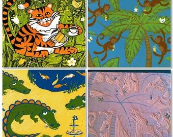 Jungle tea time - Three original linocut prints - save 20 percent