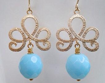 Fleur De Lis Earrings/Tiara Earrings/Blue Earrings/Czech Glass Earrings/Baby Blue Earrings/Bridesmaid Earrings