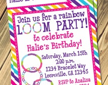 Rainbow Loom Birthday Invitation Print Your Own
