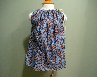 Blue vintage toddler dress.  2T 3T pillowcase dress.