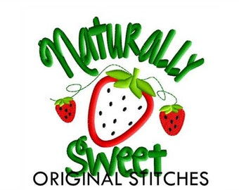 Naturally Sweet Strawberry Applique and Embroidery Digital Design File 4x4 5x7 6x10 7x11