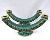 A pair of ceramic double candle holders, emerald green color, from France