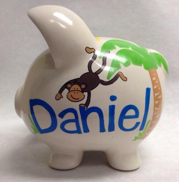 Personalized Piggy Bank Jungle Fun