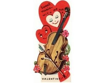 Vintage Valentines, Digital Download Sweet Music Cello Vintage Die Cut Valentine Card JPG