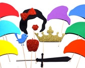 Princess and Dwarfs Photo Booth Props - 13 piece set - GLITTER Props - Birthdays, Weddings, Parties - Photobooth Props