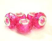 5 GLASS, Hot Pink,  European Charm Bracelet Crystal Cut Beads - Euro, Large Hole
