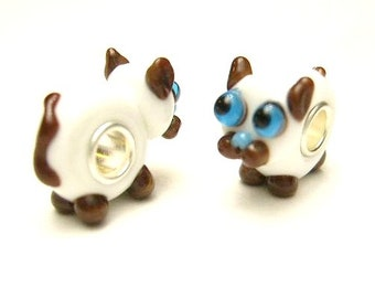 1 Kitty Cat,  European, Glass Lampwork , Large Hole, Slide Charm Bracelet Beads,  Euro, Big Hole -  White, Brown, Blue