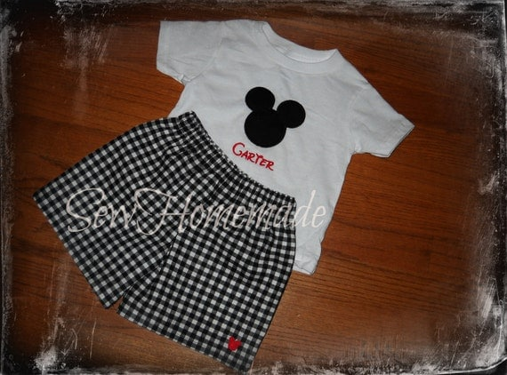 Mickey Shorts Set - Mickey Outfit - mickey Birthday Outfit
