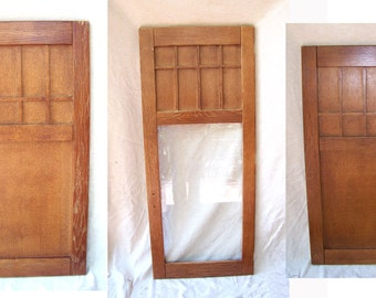Craftsman oak doors Victorian 3 butler pantry cabinet Art & Crafts Mission architectural salvage   tiger quarter sawn oak