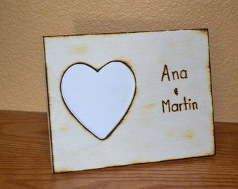 Valentine or wedding Rustic  photo frame engraved with names perfect gift for wedding anniversary
