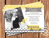 School Bus Birthday Invitations