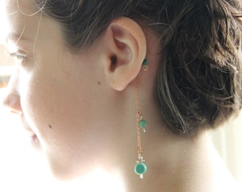 Handmade over the ear earring cuff. These are a 1 sided no pierce earring style-turquoise mixed metal