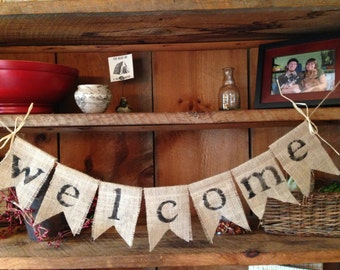 Burlap Welcome Bunting, Burlap Bunting, Bunting Banner, Welcome Bunting, Pennant, Garland