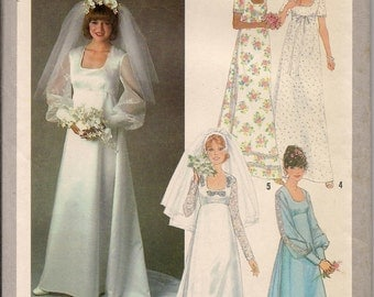 1978 sewing pattern Simplicity 8392 UNCUT misses bridal gown or bridesmaids' dress size 12 bust 34
