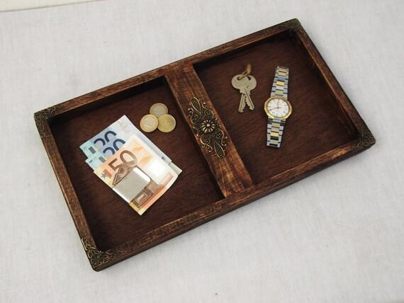 Rustic Wooden Decorative Mens Valet Tray Trinket Tray