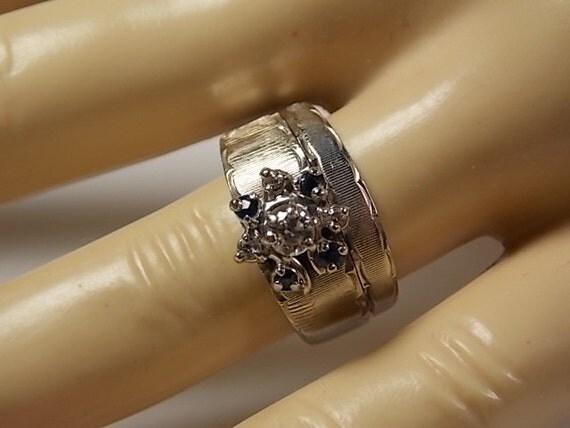 1960s Diamond And Sapphire Wedding Ring Set 46ctw White Gold