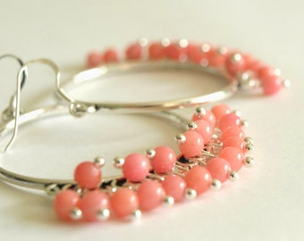 Large Hoop Earrings with Pink Salmon Hoop Earrings-Agate Gemstone chandelier earrings in Pink Flambé