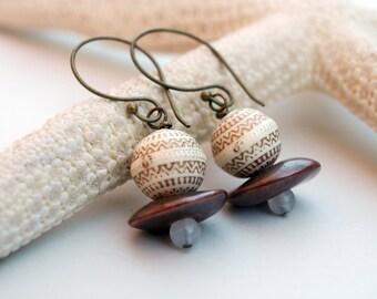 Ethnic Rustic Earrings, Brown Cream & Golden Patine Antiqued Boho Chic Earrings