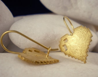 "Gold Plated Solid Sterling Silver Earrings - ""Love Bytes"""