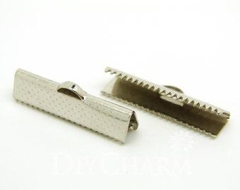 Silver Tone Ribbon Clamps Ribbon End Crimps 25x6mm - 50Pcs - FQ23757