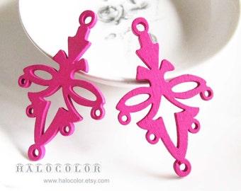 6 PCS -32x55mm Pretty Hot Pink Ear Drop Wooden Charm/Pendant MH220 06