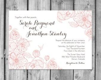 Peony Wedding Invitation Set