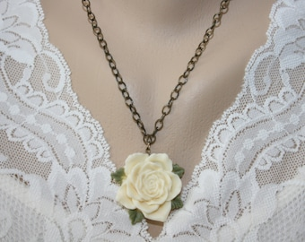 Sandra Ivory Cream Rose Pendant Cabochon Antique Brass Chain Ladies Necklace Pearl Earrings Handmade