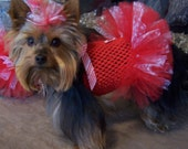 Christmas Dog TuTu Dress for toy breeds in red and white candy cane - Hair bow included