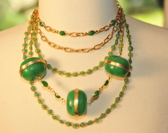SALE Handmade Vintage Green and Brass Layered Necklace