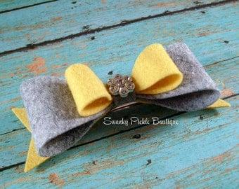 Yellow Gray Hair Bow - Mustard Yellow Gray - Hair Barrette - Wool Felt Hair Bow - French Clip - Adult Hair Clip - Teen Hair Bow