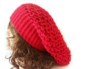 Beanie - Beret - Chic Accessories - Knitting Hat -  Modern Hat - Red or Pink Hat - Trendy