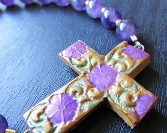 Amethyst Gold Sideways Cross Bracelet