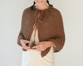 Mohair Capelet in Brown - Knit Wrap with Ribbon - Fall Winter Accessories - Women Fashion