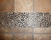 """Hair On Leather 3""""x11"""" FLESH and Black Spots BABY LEOPARD Print Cowhide  PeggySueAlso"""