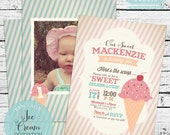 Vintage Ice Cream Invitation PLUS Matching Thank You Note