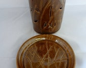Ceramic Candle Dish, Votive Candle Holder, Ceramic Tree candle holder, Hand carved ceramic candle holder, Ceramic Votive Dish, Brown Pottery