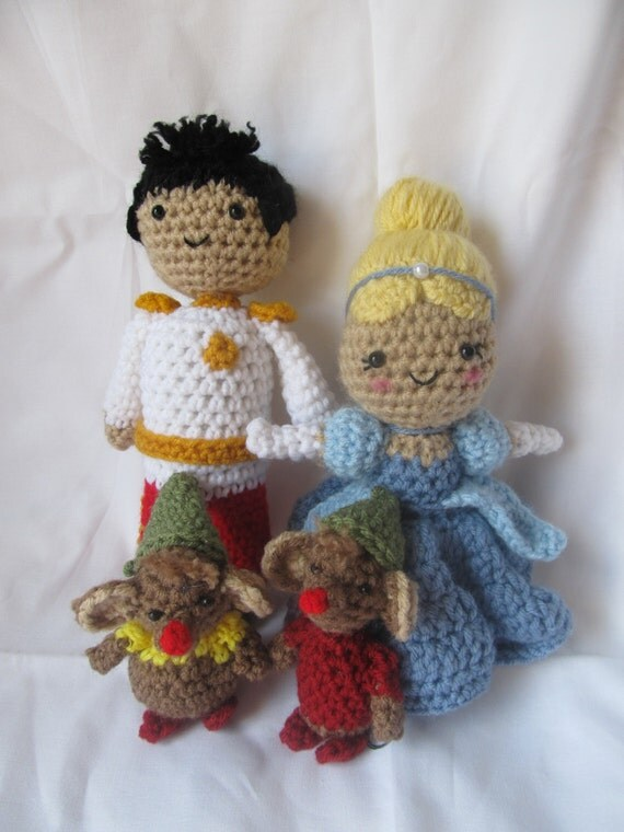 3 PDF Crochet Patterns - Cinderella, Prince Charming, Gus and Jacque - Disney Princess