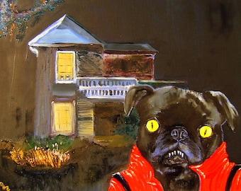 """Black Pug Dog Art PRINT of an original oil painting/ """"THRILLER"""" /Halloween/8x10/Dog Art"""