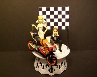 Motorcycle HONDA  RC211V 2006 Bride and Groom Funny Bike Wedding Cake Topper