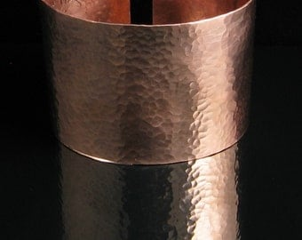 "Arm Cuff Hammered Copper 2.5"" Wide - Free Stamping"