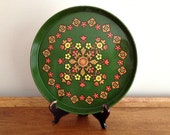 Vintage Flowered Serving Tray Wall Hanging Action