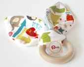 Natural Wooden Teething Ring Soother in ALPHABET SOUP fabric ....a baby gift idea from Cwtch Bugs - CwtchBugs