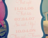 Important Dates Sign - 5x7 Ornate Shaped Sign in your custom wedding colors