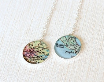CUSTOM Map Necklace - Atlas Necklace - Location Pendant - Vintage Map - Personalized Map Necklace - Custom Map Pendant - Hometown