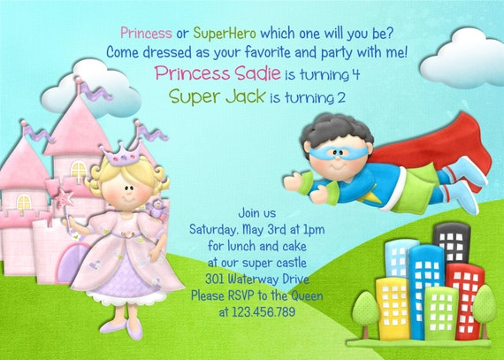 princess and superhero birthday invitation castle invite